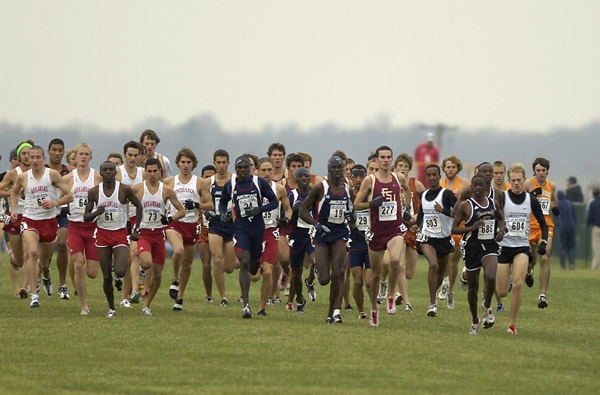 Cormier (#64) on his way to All-American at the 2005 NCAA champs. Photo by trackandfieldphoto.com