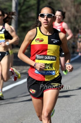 Linden en route to a top-10 finish in Boston