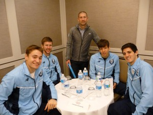 Columbia with coach Dan Ireland