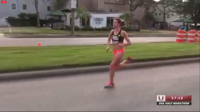 Conley prevailed in her first serious half marathon after pulling away at 10 miles.