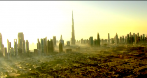 A beautiful shot of the Dubai city from the race helicopter