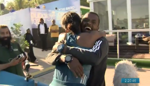 Aselefech Mergia and Her Support Crew (she also hugged Renato Canova) Were Super Pumped with the $200k Win