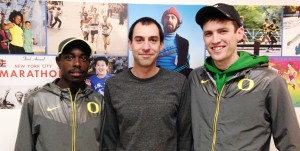 Edward Cheserek, coach Andy Powell, and Johnny Gregorek of the University of Oregon in advance of the 2015 NYRR Millrose Games (photo by Chris Lotsbom for Race Results Weekly)