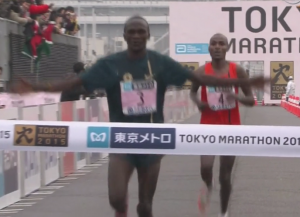 Stephen Kiprotich did not win but he still got to break the tape in 2nd and celebrate (we're not sure why)