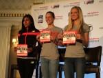 New Balance's leading ladies, Brenda Martinez, Jenny Simpson and Emma Coburn.