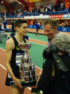 Centrowitz with past Millrose great Eamonn Coghlan.