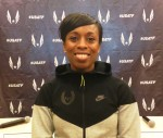 PHOTO: Four-time USA 1500m champion Treniere Moser at a press conference in advance of the 2015 USA Indoor Championships in Boston (photo by Chris Lotsbom for Race Results Weekly)