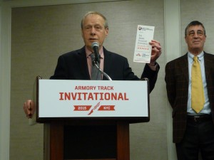 Norb Sander holding up a 15-year old program for the 'new' meet.
