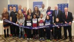 Athletes and officials gathered with school children at a press conference in advance of the 2015 NYRR Millrose Games.  Adults (from left to right): Mary Wittenberg, President & CEO of New York Road Runners; Cam Levins, Canadian Olympian; Matthew Centrowitz, two-time 1500m medalist at IAAF World Championships; Ashton Eaton, 2012 Olympic decathlon gold medalist; Mary Cain, 2014 IAAF World Junior 3000m champion; Brianne Theisen-Eaton, 2013 IAAF World Championships heptathlon silver medalist; Shannon Rowbury, 2009 IAAF World Championships 1500m bronze medalist; Sanya Richards-Ross, 4-time Olympic gold medalist; David Oliver, 2013 IAAF World Championships 110m hurdles gold medalist; Bernard Lagat, 8-time Wanamaker Mile champion; Ray Flynn, NYRR Millrose Games Meet Director; Dr. Norbert Sander, President of Armory Foundation (photo by Chris Lotsbom for Race Results Weekly)