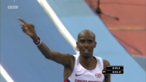Mo Farah reacts