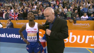 Mo Farah celebrates with the Union Jack