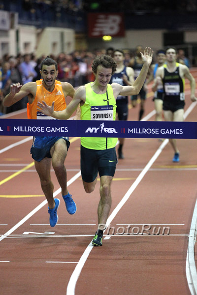 Andrews racing Erik Sowinski in the 1k at Millrose two years ago