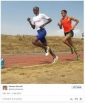 Mo Farah and Hamza Driouch Training in Ethiopia. Photo from Hamza's twitter feed.
