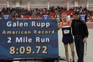 Galen Rupp and Alberto Salazar after the American 2 mile record in 2012