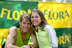 Ryan and Sara Hall after his marathon debut in London.