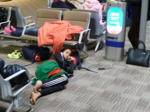 Another Morocccan getting some sleep as our flight from Shanghai to Guiyang didn't get in until after midnight