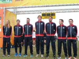 Team USA: Andrew Colley, Patrick Smyth, Bobby Curtis, Maksim Korolev, Chris Derrick, Ryan Vail and Thom Hunt