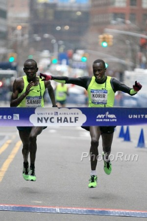 Sambu (left) just missed out to training partner Leonard Korir at the NYC Half in March