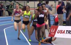 Ajee Wilson's Head on the Track. She Moved the Rail She Hit it So Hard