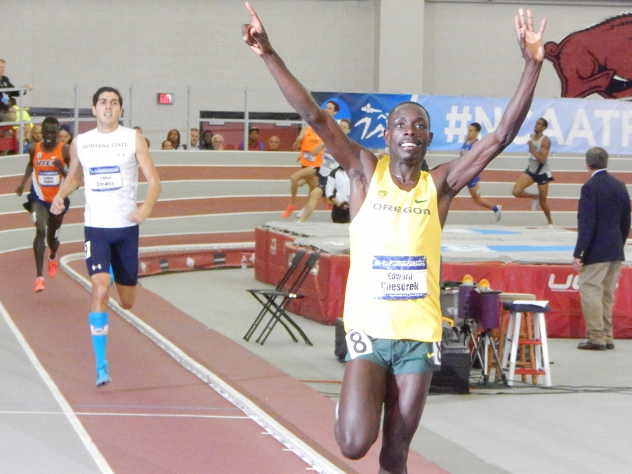 Cheserek used his famous kick to win the NCAA mile title in 2015