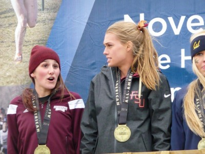 Quigley and Mississippi State's Rhianwedd Price (left) at NCAAs last fall