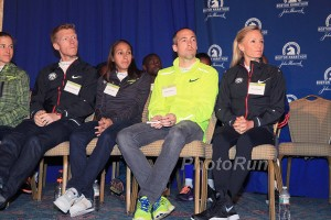 Amy Hastings Cragg, Matt Tegenkamp, Desi Linden, Dathan Ritzenhein, Shalane Flanagan at the Press Conference