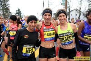 Shalane Flanagan (c) before Boston this year
