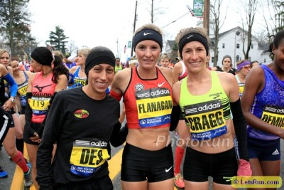 The 3 2016 US Olympians - Desi Linden (l), Shalane Flanagan (c), Amy Cragg (r) - before the 2015 Boston Marathon