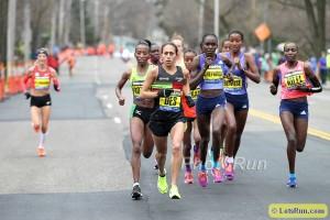 Desi Linden Leads Boston