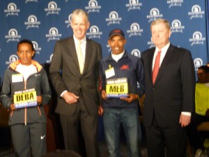 Buzunesh Deba (left) and Meb Keflezighi (right) get 'Bib #1' even though Deba technically didn't win last year