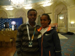 Worku Beyi and Buzunesh Deba on Friday in Boston