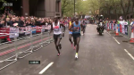 The WR holder Kimetto fell back momentarily in mile 23 and for good in mile 24