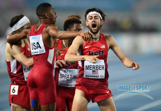 We don't think anyone will be as excited about the mixed-gender 4x400 as Kyle Merber was for the U.S.'s DMR win in 2015