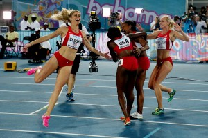 Maggie Vessey and Crew Celebrate 4x 800 Gold© Getty Images for IAAF