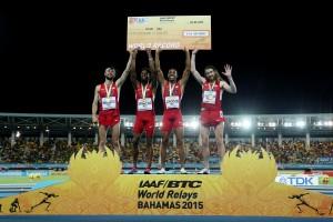 USA World Record for Kyle Merber, Brycen Spratling, Brandon Johnson and Ben Blankenship © Getty Images for IAAF