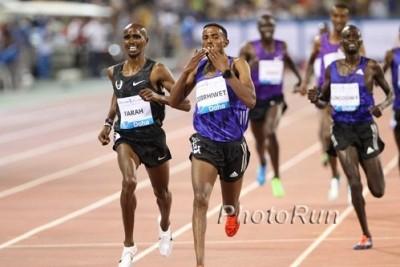 Gebrhiwet took down Mo Farah over 3,000 meters in Doha on May 15