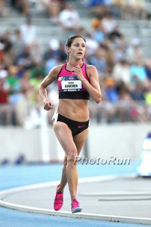 Goucher's last track race: the 10,000 at USAs in 2013 (she finished 5th)