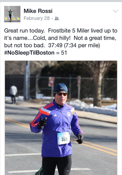 Rossi wasn't thrilled with his 5 mile time in February