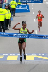 Caroline Rotich wins the 2015 Boston Marathon. Photo by Vicath Sailer.