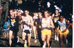 Ryan Bolton (Wyoming) with at least three other Olympians (Kevin Sullivan (Michigan), Meb Keflezighi (UCLA), Adam Goucher (Colorado)) at the 1995 NCAA xc meet. Photo courtesy of Ryan Bolton.