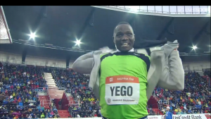 Julius Yego smiles after his NR
