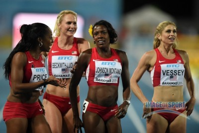 Price, Beckwith-Ludlow, Montano and Vessey were all smiles at the World Relays, but one or more of them will be leaving Eugene unhappy