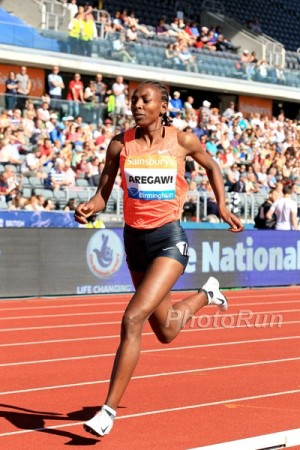 Aregawi looked more like her old self in Birmingham, though she still couldn't beat Hassan