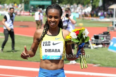 Dibaba came up short of the WR in her last trip to Pre two years ago
