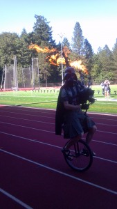 A bagpiper with fire!