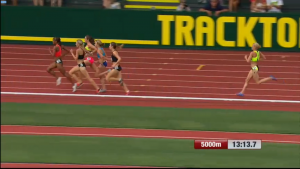 Katie Mackey stumbled on the penultimate lap