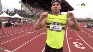 Symmonds celebrates his first title while running for Brooks
