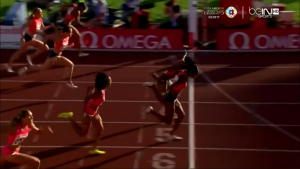 Brianna Rollins (inside) and Jasmin Stowers - That's what we call a tight finish