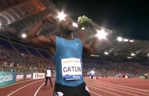 Gatlin Celebrates in Rome