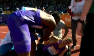 Bracy checked on Gemilis after the race